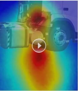 Dette akustiske bildet registrerer hvor lyden strømmer ut fra kjøretøyet. D